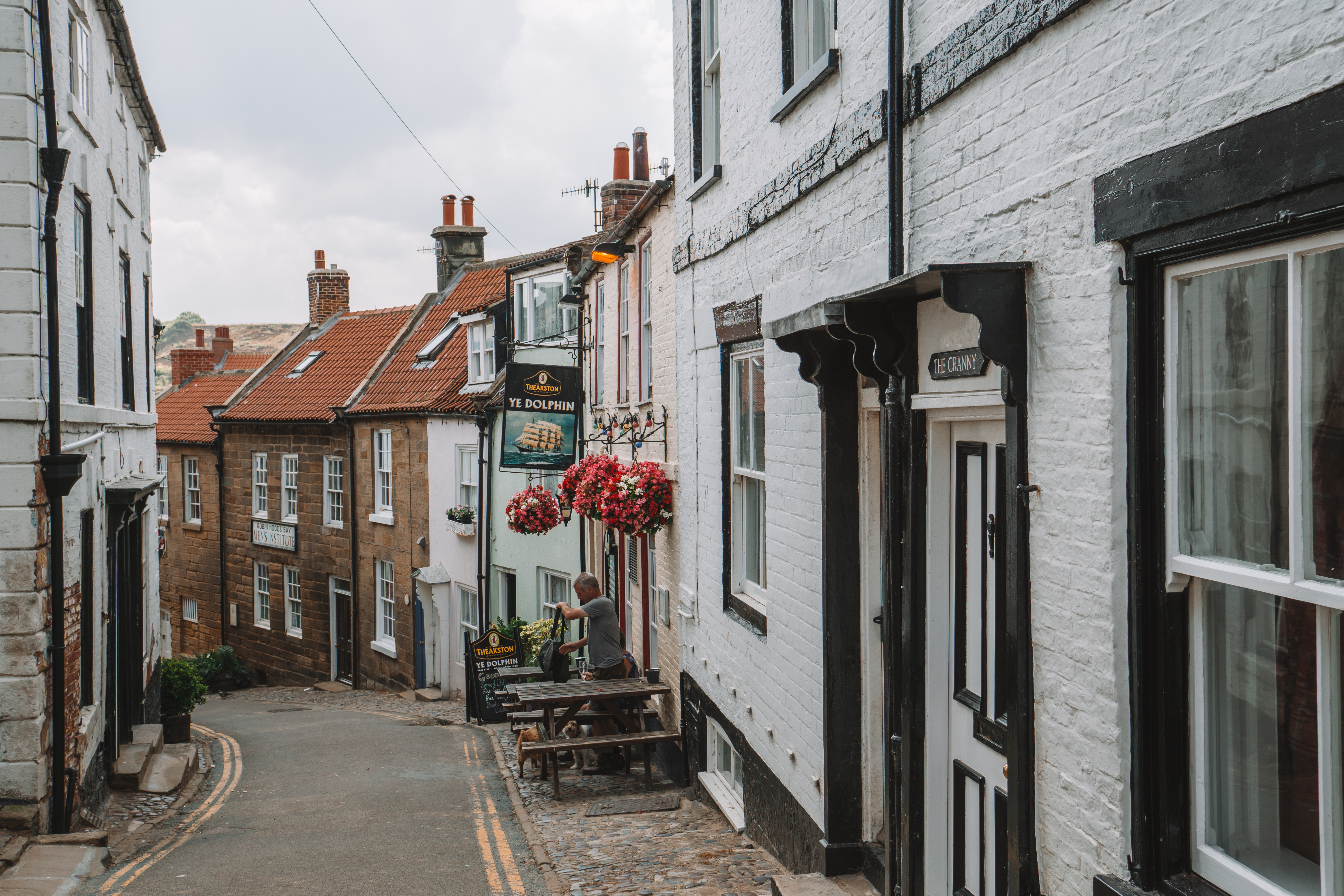 Pretty streets in Robin Hood's Bay, North Yorkshire