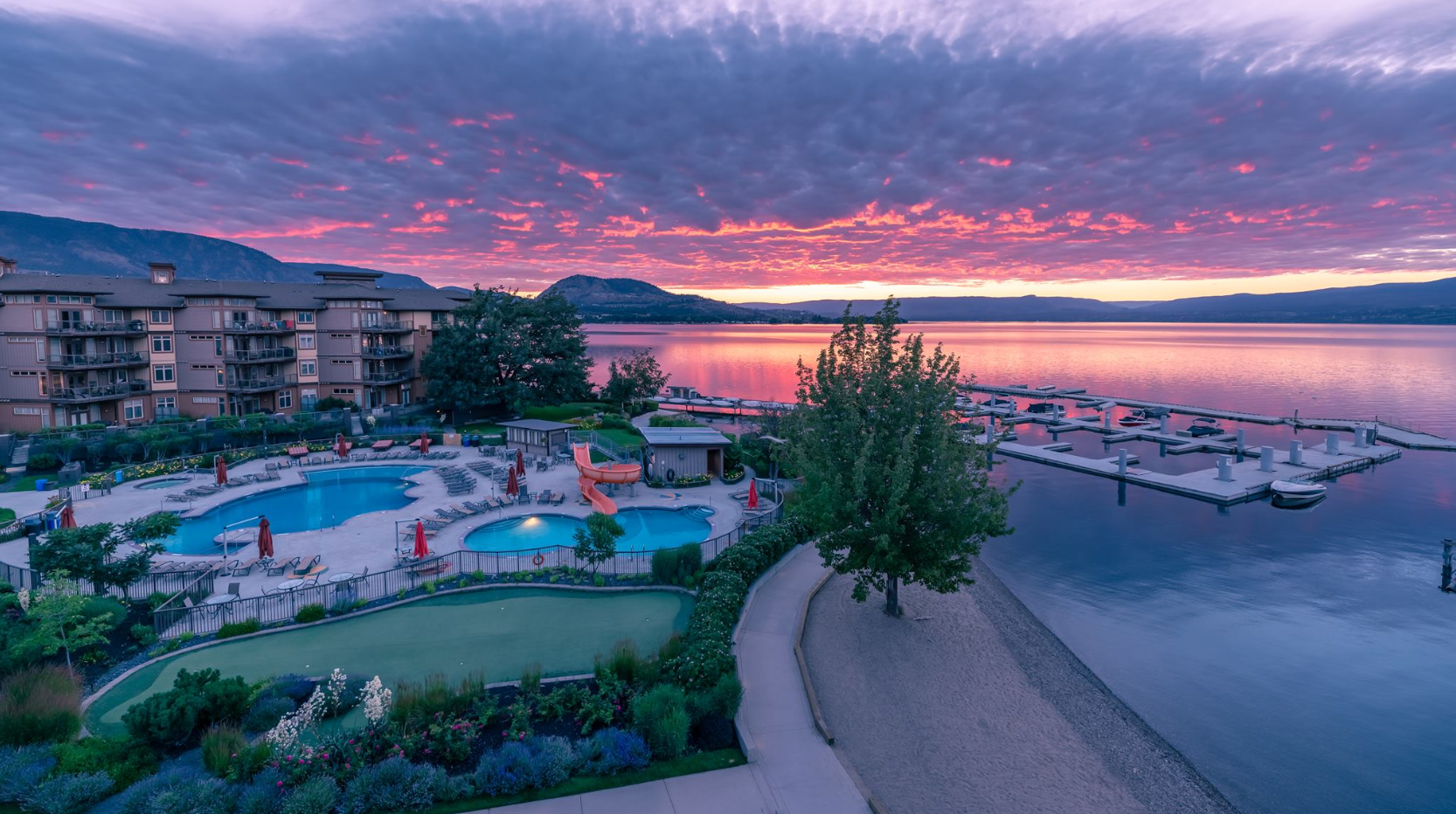 Sunset over the Cove Lakeside Resort