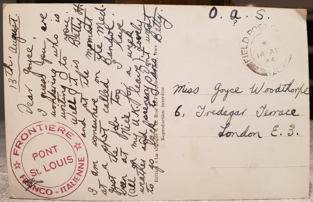 Postcard from woman in second world war to friend