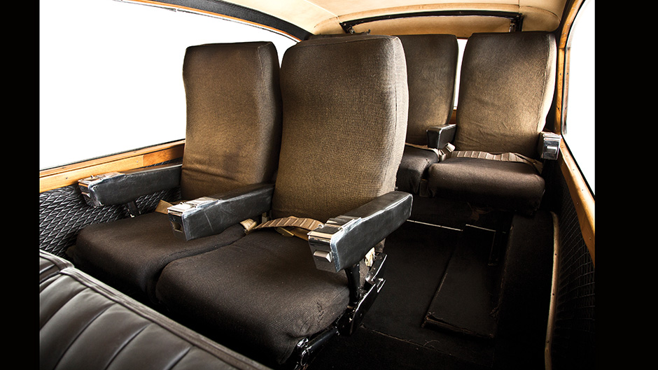 The airline seats in the back of John Lennon's Austin Princess Hearse