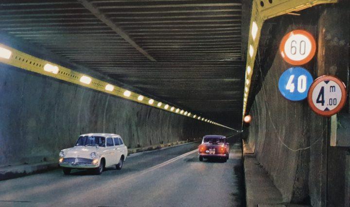 Ford Anglia 105E Estate in San Bernado tunnel