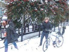 Steve, Aimee and I on a snowy walk on Jesus Green