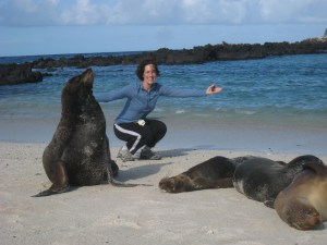Hanging with a sea lion in the Galapagos