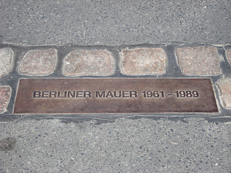 Bronze Plaque marking where the Berlin Wall used to stand.