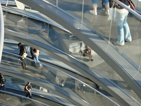 This is not a blurry shot, but caused by the reflection of the glass. It's a shot of several walkways.