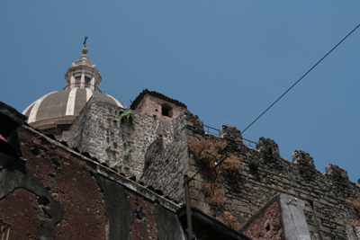 Looking up at the dome of the Duomo, from the walled fortifications below (at sea level).
