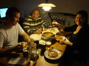 Eating goulash with friends