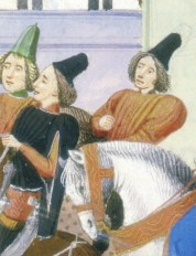 Men wearing very tall hats without a pull, 1389