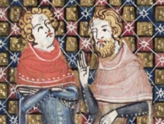 Two men wearing capuchon hoods thrown back from their heads. Both have chin long hair and one has a chin curtain or a full beard. c. 1300's