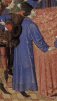 The courtier has a chaperon over his shoulder as well as a hat. 1460