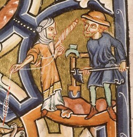 A peasant in tunic, hose, hat and short shoes and a woman spinning with an unweightened teen. She is wearing a knee long tunic over a shift and a veil wrapped around her head.