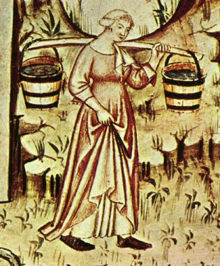 She is wearing a cote and a white shift underneath. Her cote is belted at the waist and the sleeves bellows a bit at the elboves but narrows near the wrist. Woman caring water(?), 1300's