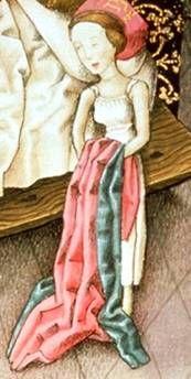 Fancy lady in her shift c. 1450
