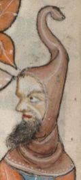 Man bearded wearing a capuchon with a long tail liripipe, c 1325-1340