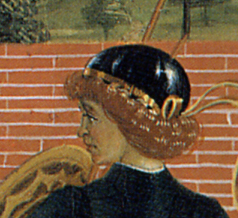 Very shiny hat with a gold band around it, c. 1473