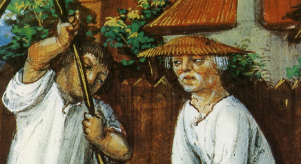 Peasants: one bare headed, one wearing a wide brimmed hat. 1490
