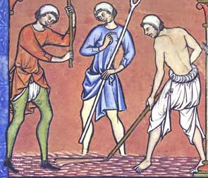 Men working in linen braies, tunics, and coifs. The man on the left wears green hose over his braies. c. 1250