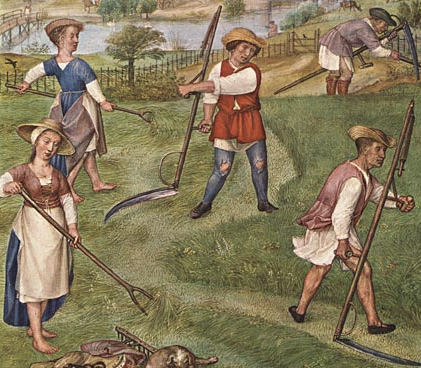 Haymakers: Barefoot women wear short-sleeved, front-laced dresses with contrasting linings tucked up over knee-length chemises, with aprons and straw hats. Men wear sleeveless overgowns or jerkins over their shirts and hose, c. 1510.