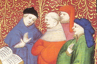 Two man wearing chaperons and one with a little black hat. Notice that the munk is not wearing any headgear. 1413
