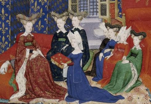 Nobel women wearing mostly robes, c. 1410 - 1414