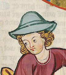 Man with a blue hat and loose curls. 1305 - 1315