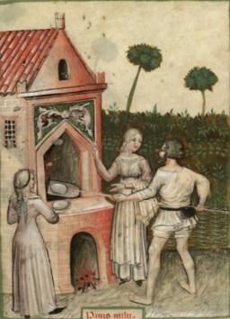 Medieval oven 1390-1400, Tacuinum Sanitatis (BNF Nouvelle acquisition latine 1673)
