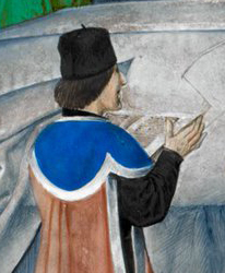 Tall black hat with a little detail on top. Like most of the men in this period is wearing his hair chin long.