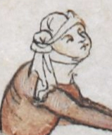 Woman in a veil that is tied up on the side of her head. c 1300 - 1340