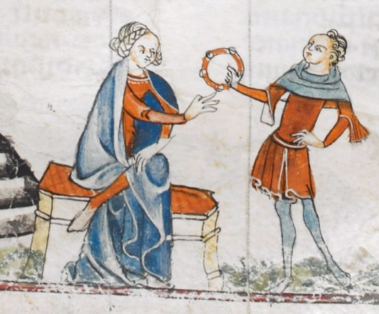 Lady in a red cote wearing a blue mantle. Man in tunic, hose and a hood. Early 1300's