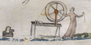 Woman spinning wool, c 1300 - 1340