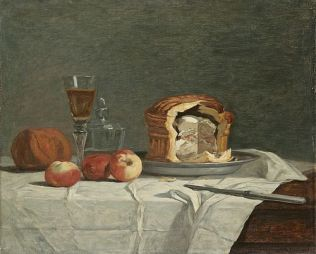 """""""Still Life with Pâté"""" by Eugene Boudin 19th century. This one is baked in a postej tin made of sheet metal - which gives the pretty shape."""