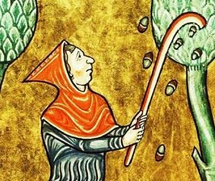 Peasant in a hood, c 1180