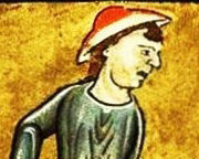 Peasant in a flat hat, c 1180