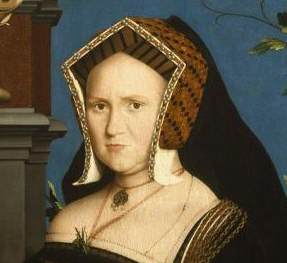 Mary Wotton, Lady Guildenford, wearing a gable hood with pinned up lappets and a hanging veil.