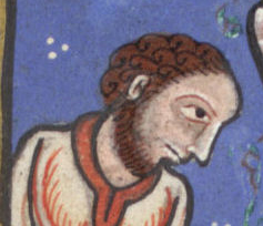 Notice his chin long hair and chin curtain, c. 1170