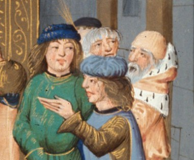 Courtiers wearing soft blue hats.