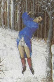 Man cuting down a tree in the winter, c. 1415
