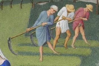 Peasants harvesting hay in tunics and shirts.