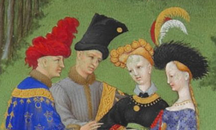 Elaborate headdresses are characteristic of the earlier 1400's.