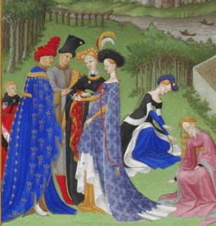 Full-bodied houppelandes with voluminous sleeves worn with elaborate headdresses are characteristic of the earlier 1400's.