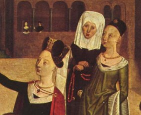 Two noble woman and a nune(?). The noble women are wearing hats with next to no visible hair. The one in front is wearing a vail. c. 1490.