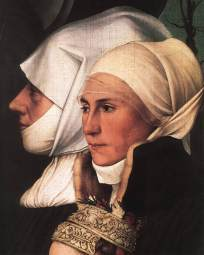 Widows in the Netherlands wear barbes' or wimples with linen headdresses, 1526–30.