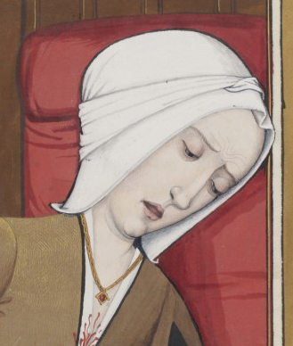 Woman in a hood tied on her head. They seem to be pretty common in the 1400's. The woman is writing. c. 1496-1498