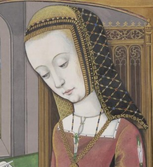 Very detailed black veil over a coif, 1497