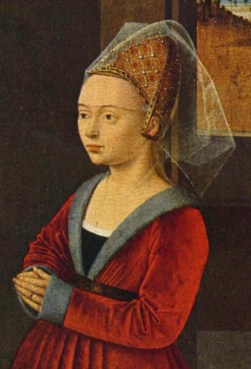 """Hair is pulled back in an embroidered """"beehive"""" hennin and covered by a short veil. The veil reaches the eyebrows. Burgundy, ca. 1455."""