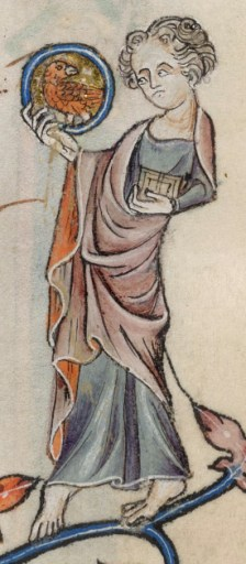 lady wearing a sbernia (cloak worn under one arm and over the other. Common at the end of the 1400's in Italy. c. 1325-1340