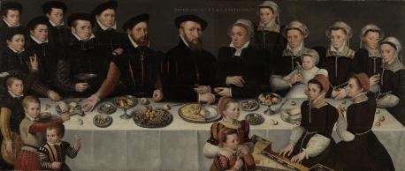 """Pierre de Moucheron (1508-67), his Wife Isabeau de Gerbier, their eighteen Children, their Son-in-Law Allard de la Dale and their first Grandchild"", anonymous, 1563"