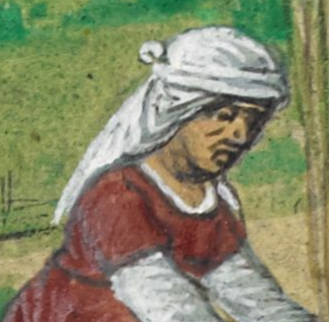 Woman in a veil tied up on her hair. c. 1485-1490
