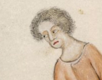 Peasant with fussy hair, hitting just under the ears, c. 1325-1340