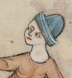 Blue hat with the brim turned up, c. 1325-1340